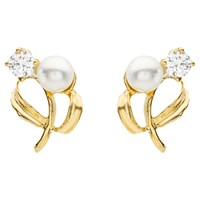 Ibb 9Ct Yellow Gold Pearl Cubic Zirconia Stud Earrings Yellow Gold