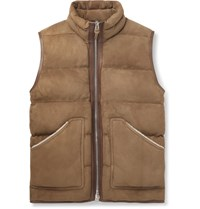 Tom Ford Shearling And Leather Trimmed Quilted Suede Gilet Brown