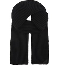 Aspinal Of London Ribbed Merino Wool And Cashmere Blend Scarf Black