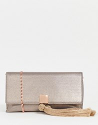 Ted Baker Kathiie Satin Clutch Bag Gold