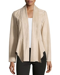 Vakko Faux Suede Draped Front Jacket Taupe