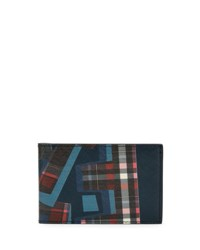 Salvatore Ferragamo Fusion Abstract Print Leather Bifold Wallet Navy Blue