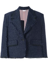 Thom Browne Raw Edge Cape Style Cropped Jacket Blue