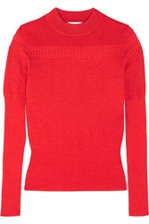 Carven Pointelle Knit Wool Blend Sweater Red