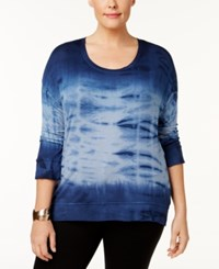 Style And Co Plus Size Tie Dyed Sweatshirt Created For Macy's Industrial Blue Wave Dye
