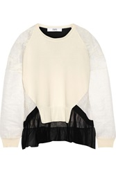 Prabal Gurung Lace Knit Silk And Cotton Blend Top White