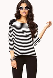 Forever 21 Nautical Striped Bejeweled Top
