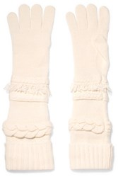 Agnona Cable And Fringe Trimmed Wool And Cashmere Blend Gloves Ivory