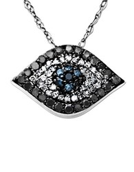 Lord And Taylor Diamond Evil Eye Pendant In 14 Kt. White Gold 0.33 Ct. T.W.