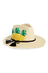 Kate Spade New York Pineapple Woven Trilby Beige Natural