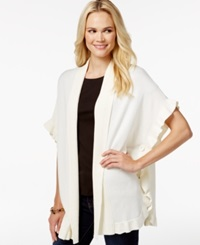 Charter Club Ruffle Trim Cardigan Only At Macy's Vanilla Bean
