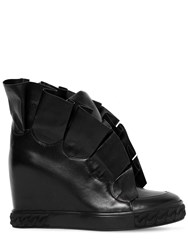 Casadei 80Mm Maleficent Ruffled Leather Sneakers Black