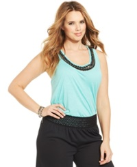 Jessica Simpson Plus Size Camryn Beaded Tank Top Pool Blue