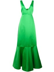 Rochas Flared Long Gown Green