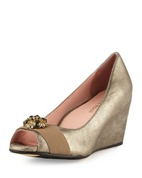 Taryn Rose Kande Jeweled Peep Toe Wedge Pump Cappuccino