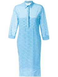 Nina Ricci Broderie Anglaise Shirt Dress Blue