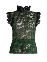 Dolce And Gabbana Ruffle Trimmed Cordonetto Lace Top Green