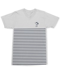 Mighty Fine Men's Snoopy Joe Cool Pose Stripe Graphic Print Cotton T Shirt White