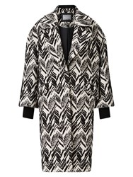Grace And Oliver Matilda Jacquard Cocoon Coat Black