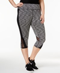 Ideology Plus Size Space Dyed Cropped Active Leggings Only At Macy's Noir