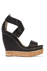 Paloma Barcelo Leather Wedge Sandals Black