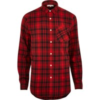 River Island Mensred Check Longline Shirt