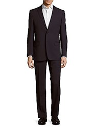 Versace Stripe Blended Wool Suit Blue