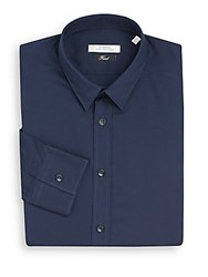 Versace Trend Fit Solid Stretch Cotton Dress Shirt Navy