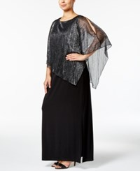 Connected Plus Size Metallic Illusion Overlay Gown Black