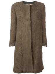 By Walid Three Quarter Sleeve Crochet Coat Green