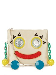 Charlotte Olympia Metal Molly Satin Cross Body Bag Cream Multi