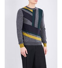 Wooyoungmi Striped Wool Jumper Grey