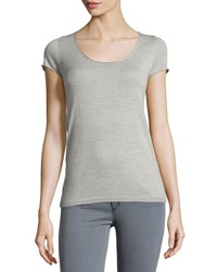 Todd And Duncan Cashmere Gossamer Short Sleeve Sweater Heather Gray