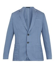 Paul Smith Single Breasted Linen And Cotton Blend Blazer Light Blue