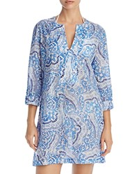 Echo Tropez Paisley Tunic Cover Up Dazzling Blue