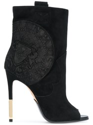 Balmain Heeled Crest Ankle Boots Leather Kid Leather Black