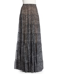 Michael Kors High Waist Tiered Maxi Skirt Gray