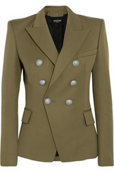 Balmain Double Breasted Wool Blazer Army Green