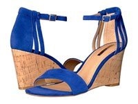 Tahari Farce Ocean Suede Cork Women's Wedge Shoes Blue
