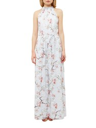 Ted Baker Tie The Knot Elynor Oriental Blossom Maxi Dress Light Grey