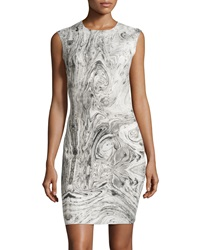 Carmen Carmen Marc Valvo Swirled Marble Print Sleeveless Sheath Dress Ivory Gray