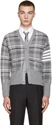 Thom Browne Grey Tartan Plaid Cardigan