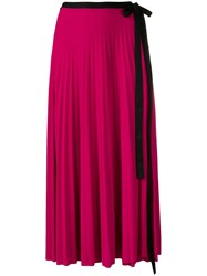 Pringle Of Scotland Pleated Wrap Skirt Pink