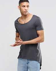 Asos Super Longline T Shirt With Tie Sides And Handkerchief Hem Washed Black Grey