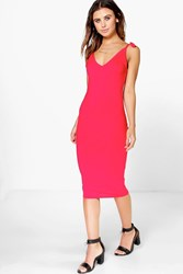 Boohoo Bow Strappy Midi Bodycon Dress Red