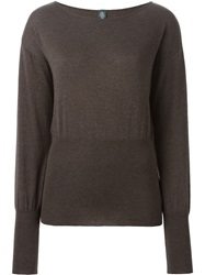 Eleventy Boat Neck Sweater Brown