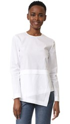 Cedric Charlier Poplin Long Sleeve Top White