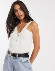 Neon Rose Knitted Button Front Cami Top White