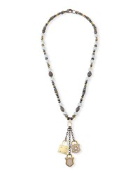 Hipchik Christie Pearl And Hematite Lock Necklace Multi