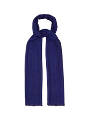 Denis Colomb Berber Striped Cashmere And Silk Blend Scarf Blue
